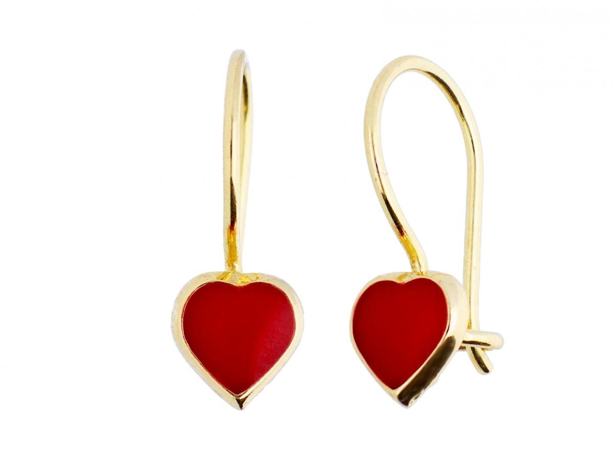 Bijuterii aur 14k cercei copii inimioare