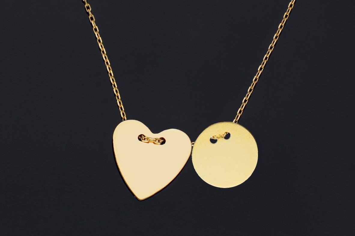 Bijuterii aur online - Lantisoare cu pandantiv dama din aur 14K  banut si inimioara