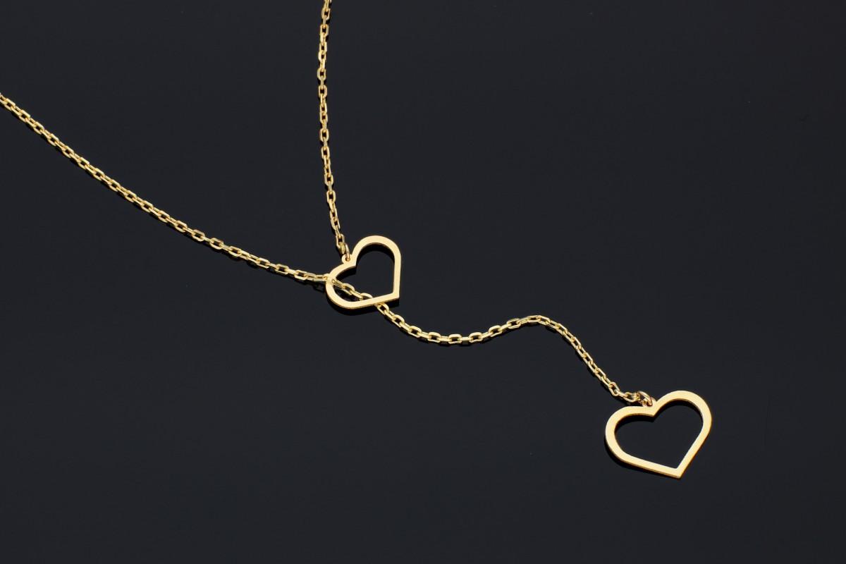 Bijuterii aur online - Lantisor cu pandantiv din aur 14K galben inimioare