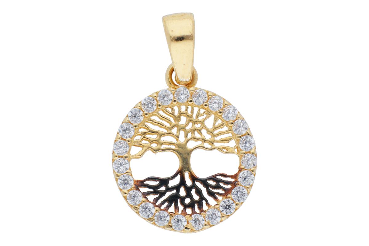 Bijuterii aur online - Pandantive din aur pomul vietii 14K galben si negru