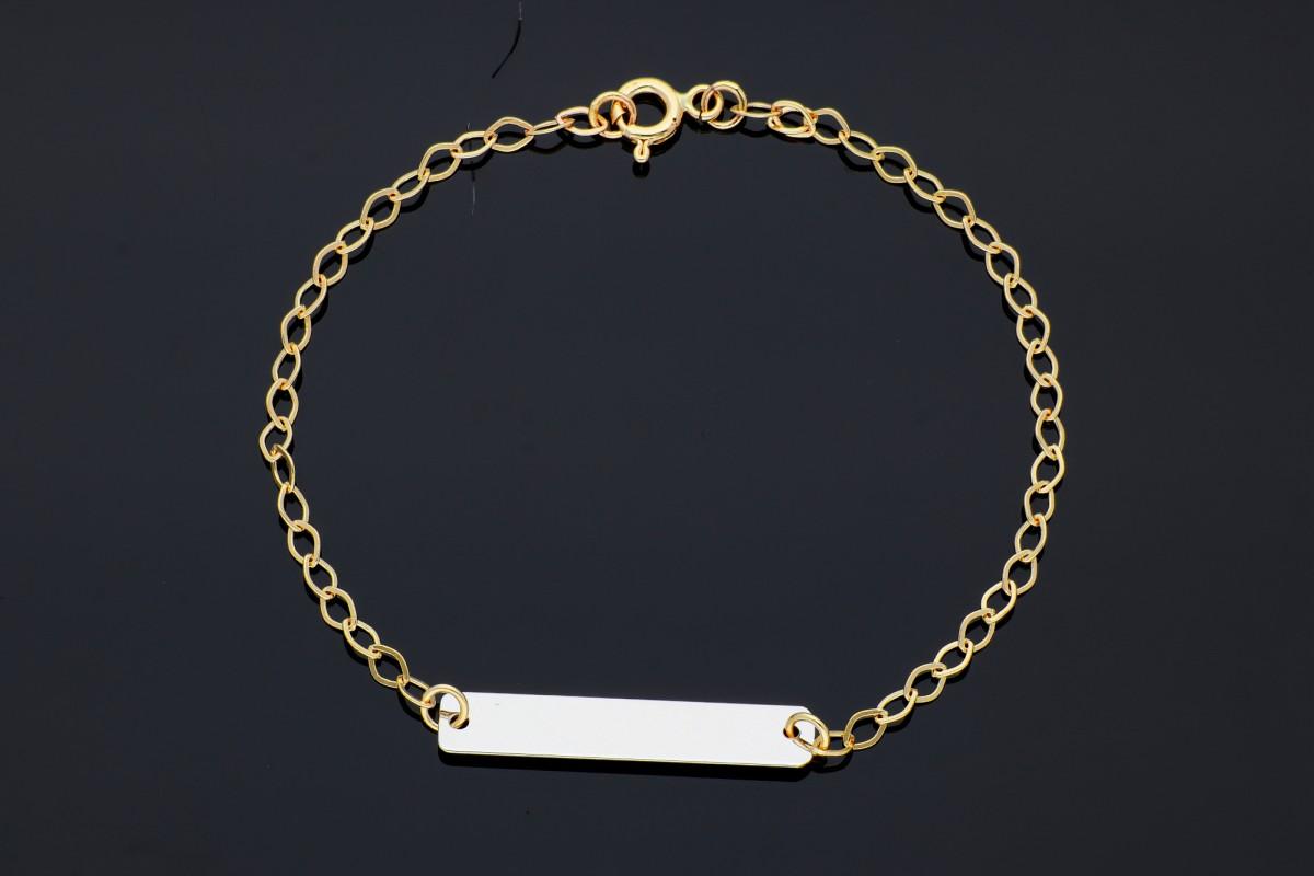 Bratara cu lant aur galben si placuta aur alb - bijuterii din aur la comanda