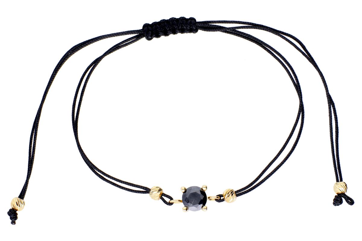 Bratara cu snur negru zirconia neagra aur 14K
