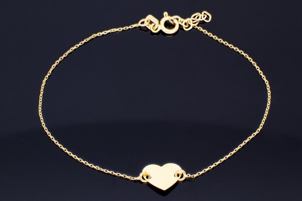Bratara reglabila bijuterii aur 14 k  inimioara gravabila
