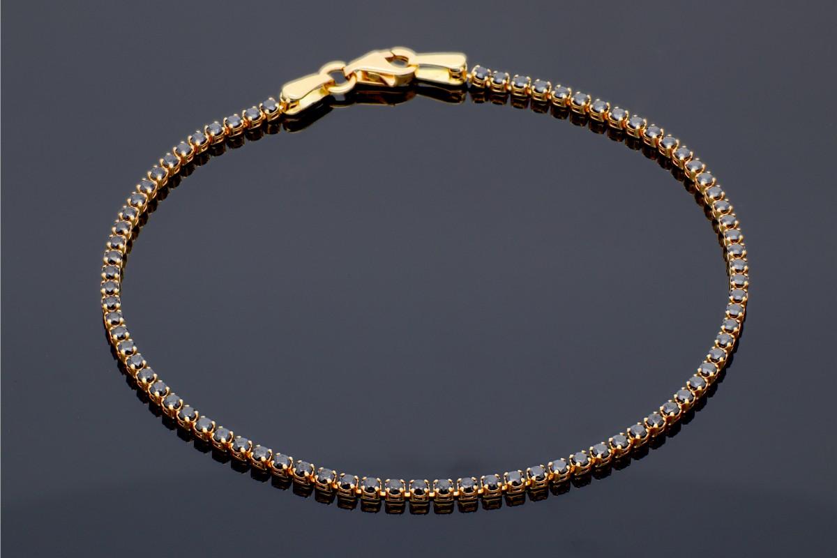 Bratara tenis pietre negre bijuterii aur cadou