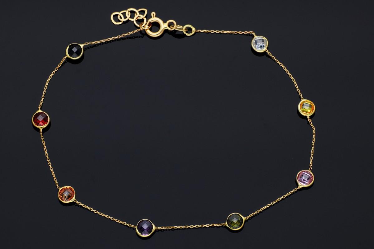Bratari mobile dama aur 14K galben zirconii colorate