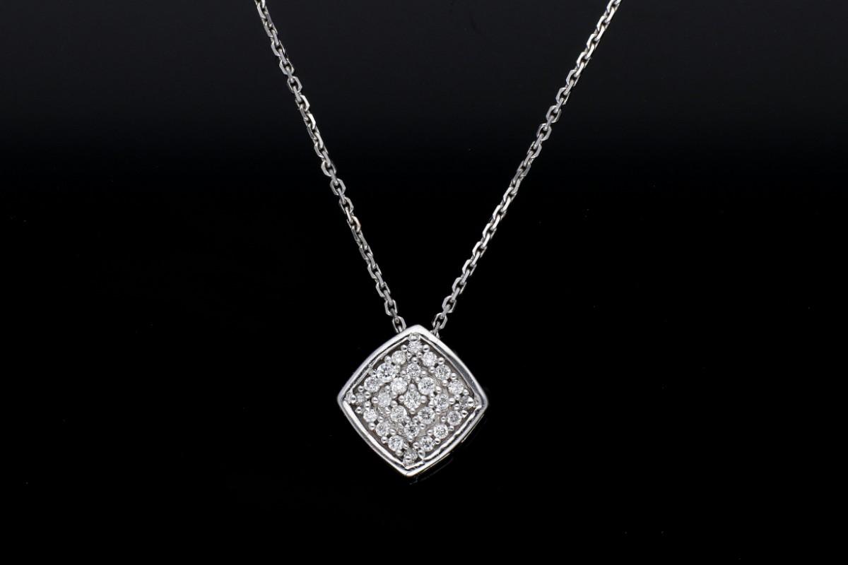 Cadou bijuterii lant cu pandant aur 14k cu diamante