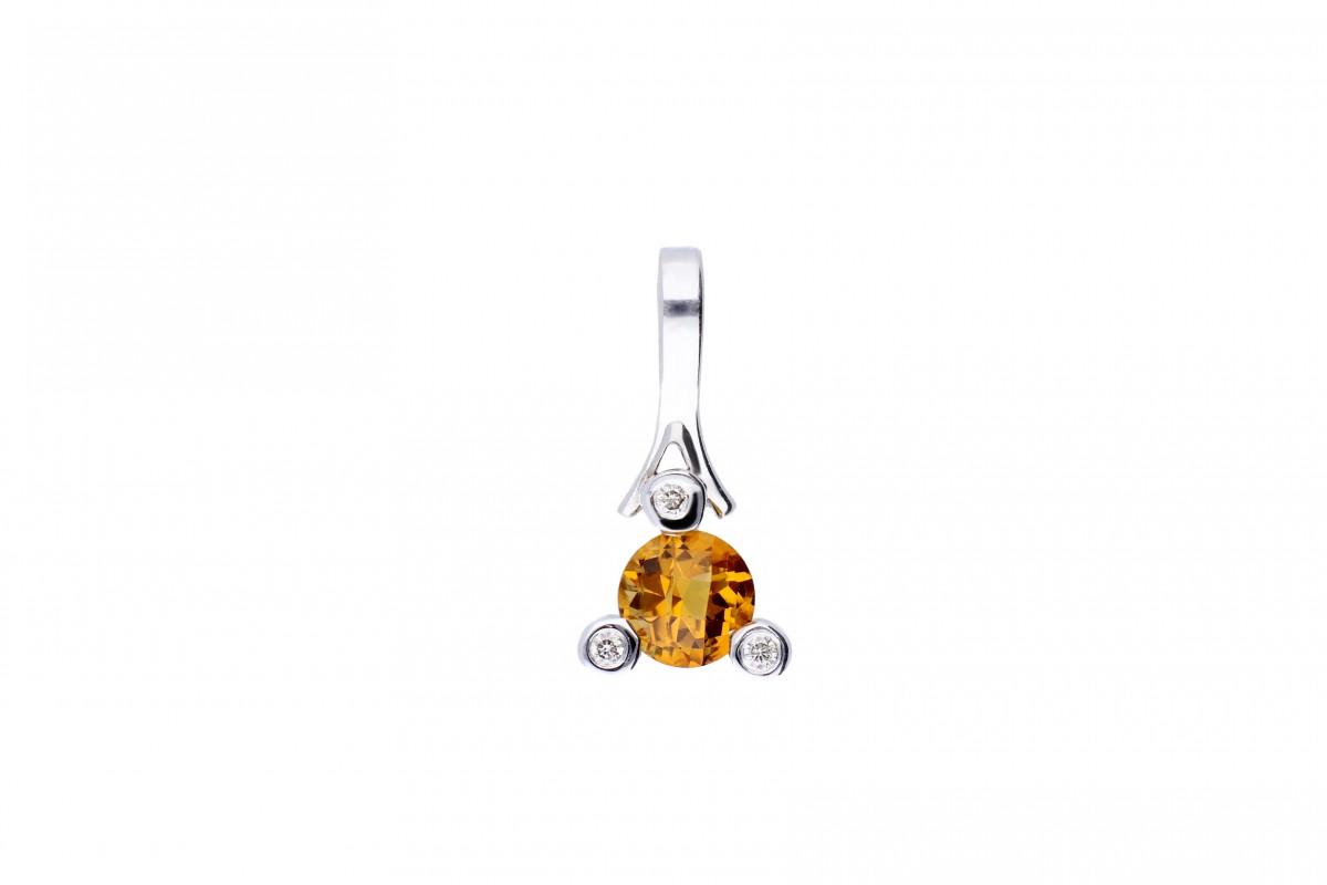 Cadou bijuterii medalion aur 18k cu diamante si citrin
