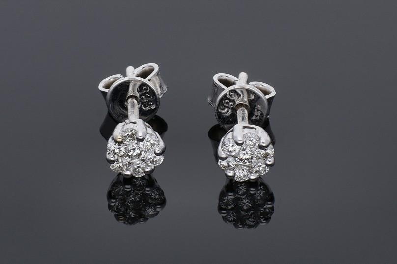 Cadouri bijuterii cercei aur alb 14k cu diamante