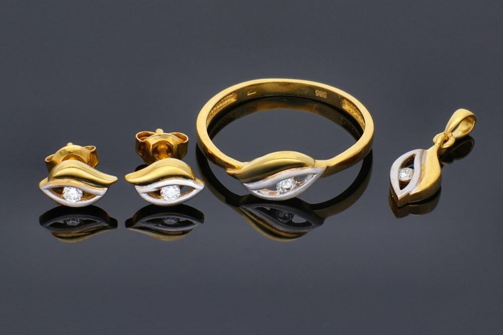 Cadouri bijuterii set cu diamante inel,cercei,pandant