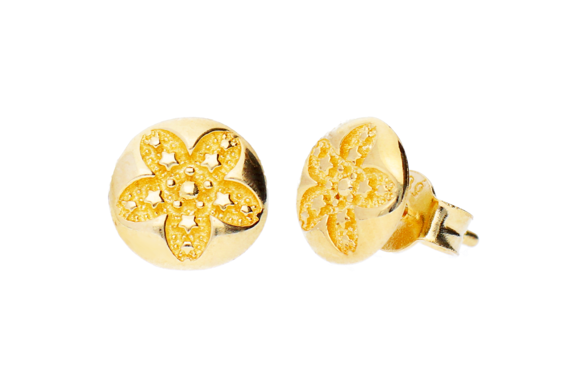 Cercei aur 14K bijuterii cu floricica