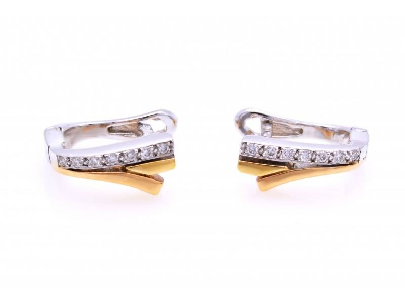 Cercei cu diamante aur 18K