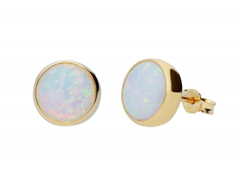 Cercei surub aur 14K cu opal