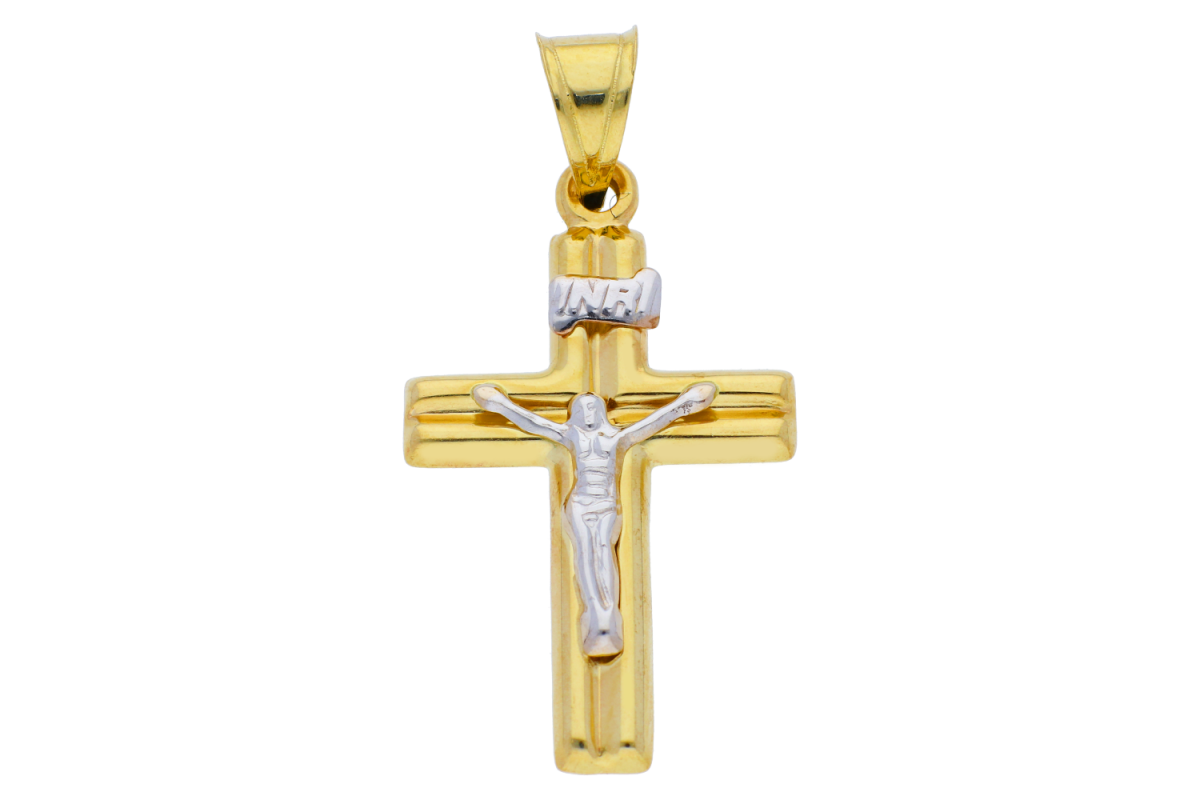 Cruciulita  Iisus din aur 14K galben si alb