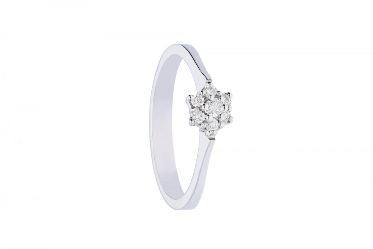 Inel  aur  alb 18k bijuterii cu diamant