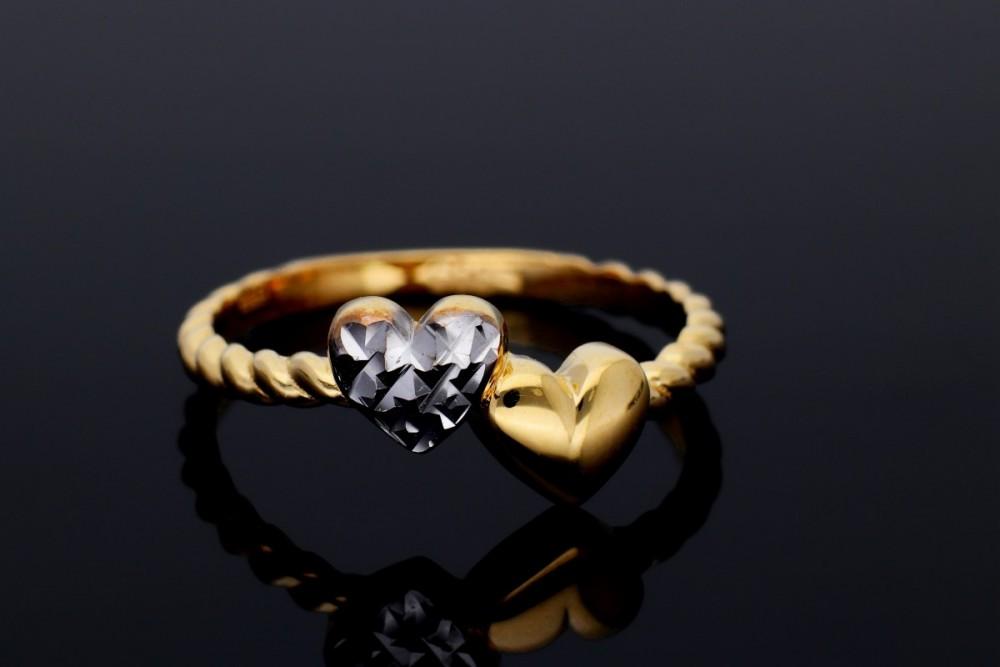 Inel aur alb-galben 14K inimioare
