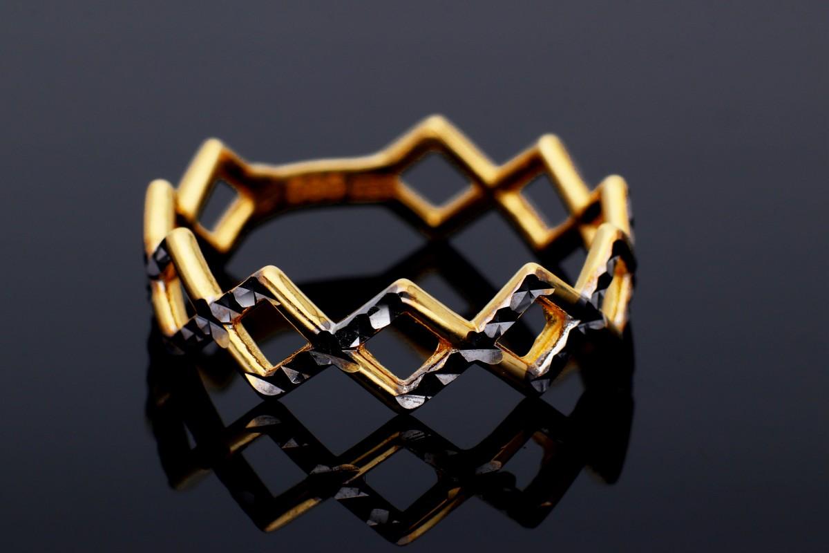 Inel bijuterii aur 14k de dama geometry