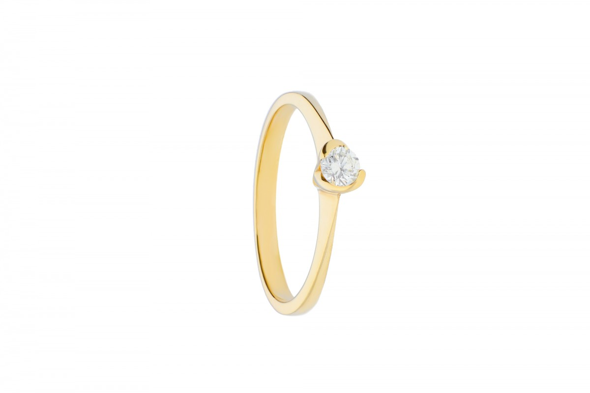 Inel de logodna aur galben  14k cu diamant