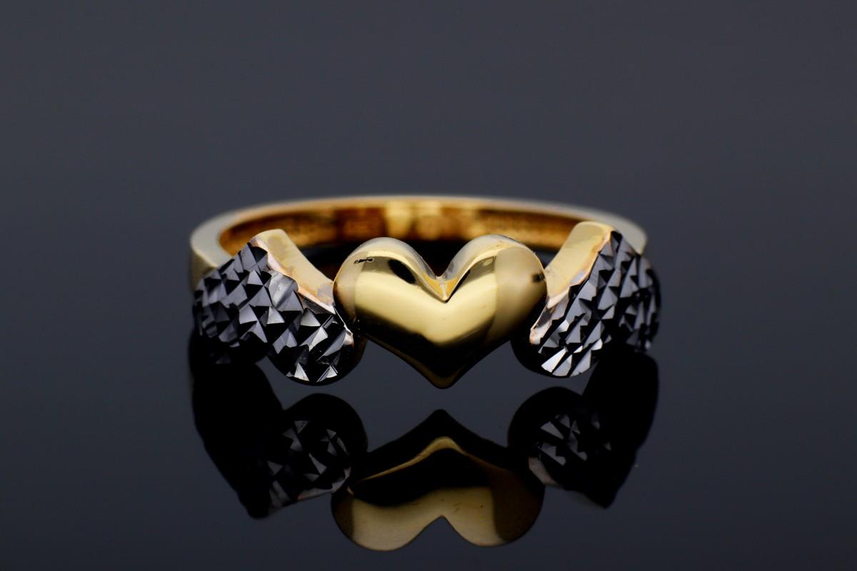 Inel din aur 14K inimioare cu fatete