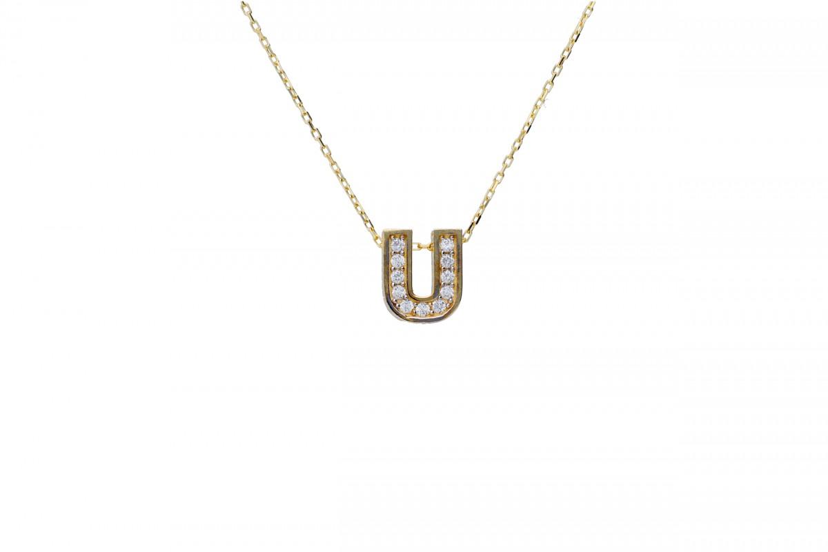 Lant aur 14K cu pandantiv initiala U