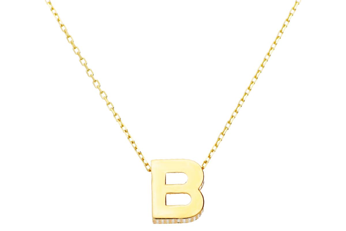Lant cu pandant aur 14k litera B