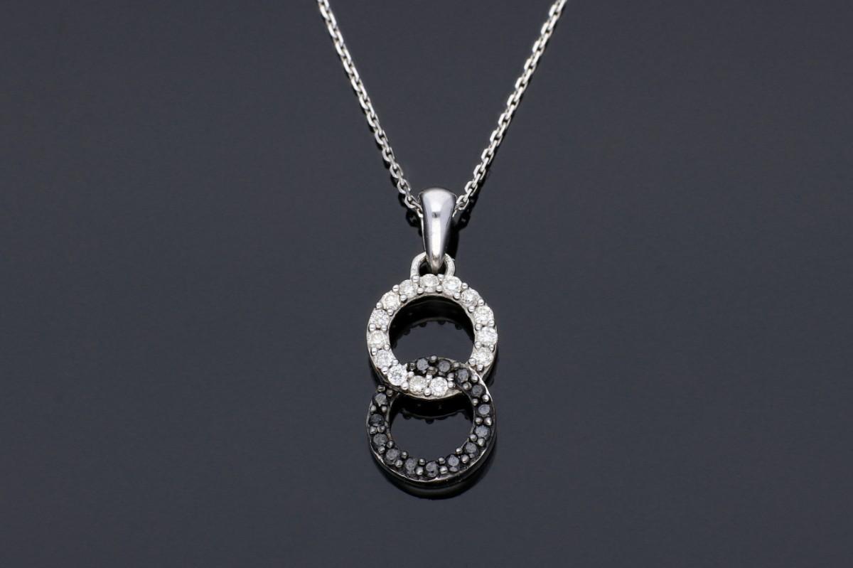 Lant cu pandant aur alb 18k bijuterii cu diamante