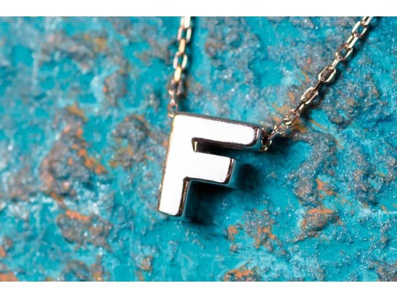 Lant cu pandant bijuterii aur 14K initiala F