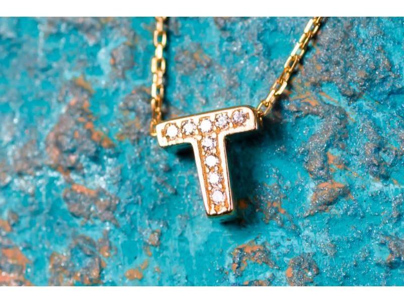 Lant cu pandant bijuterii aur 14K initiala T zirconia