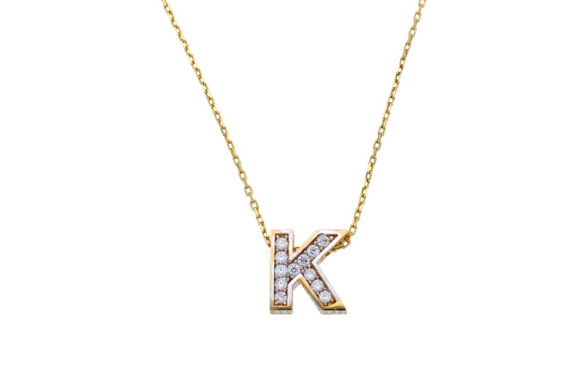 Lantisor cu initiala aur 14K galben K