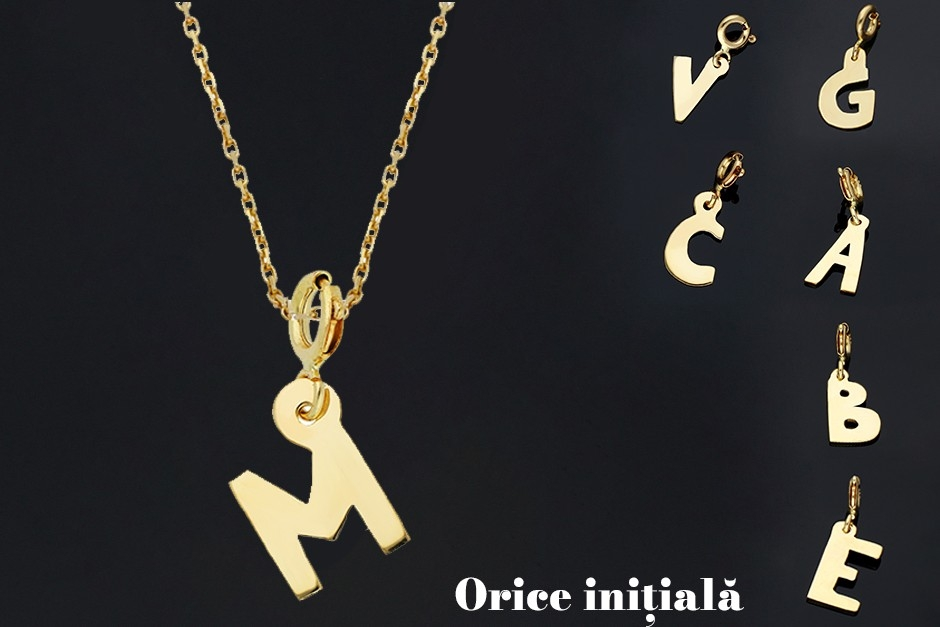 Lantisor din aur cu (orice) initiala - bijuterii aur online