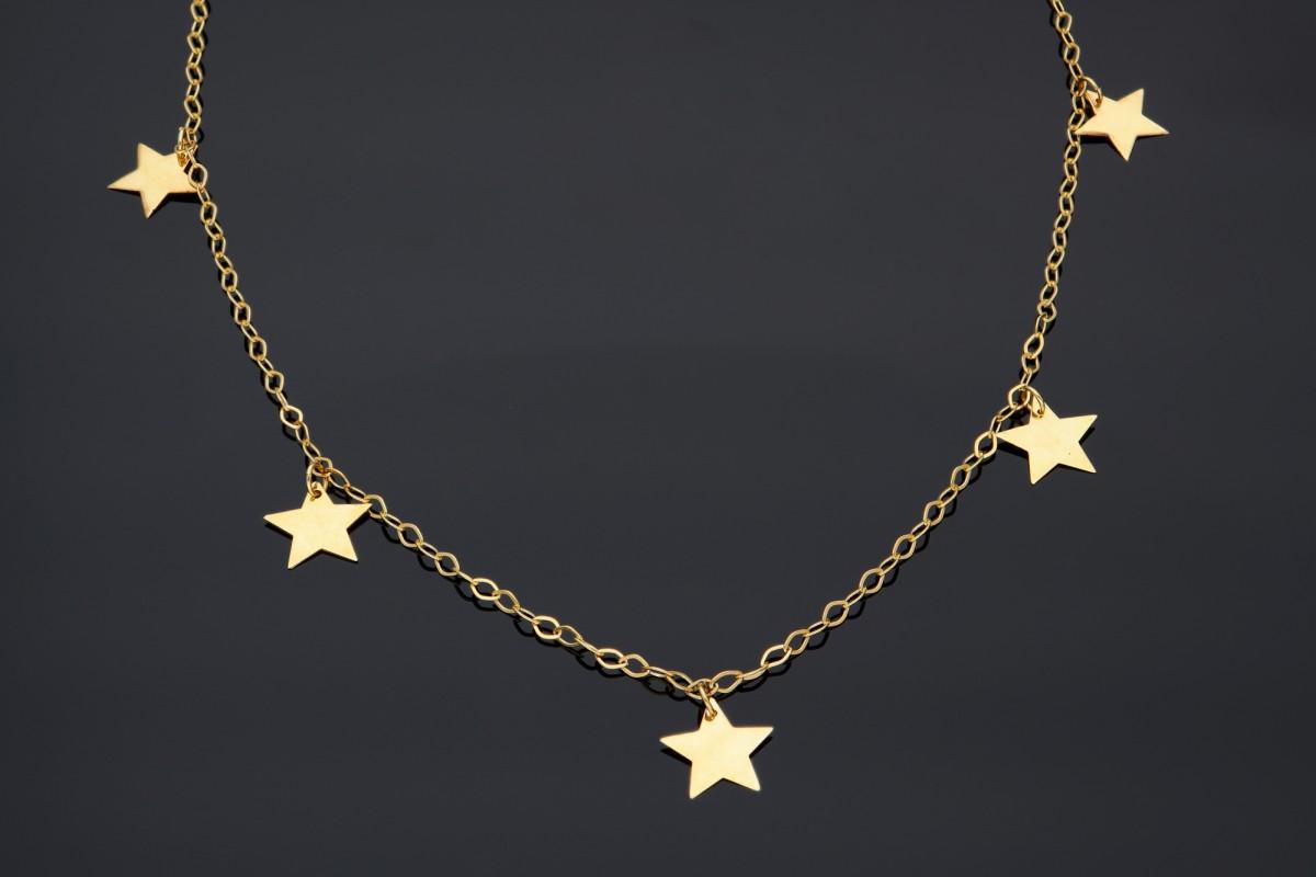 Lantisor din aur galben cu stelute gravabile  - bijuterii aur la comanda