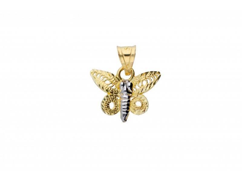 Medalion fluturas bijuterii aur 14k