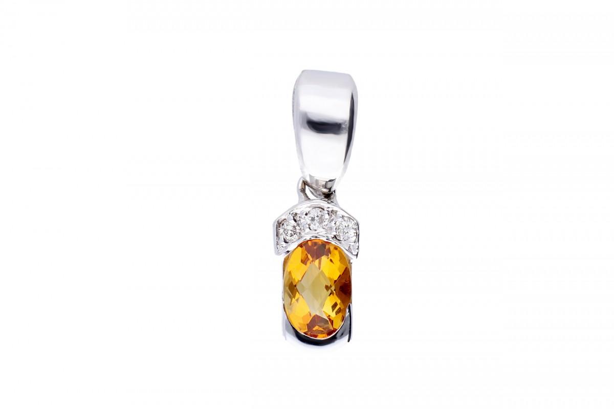 Pandantiv aur 18K diamant si citrin